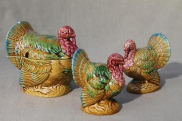 vintage Thanksgiving turkey salt & pepper shakers and jam pot, Lefton china turkeys