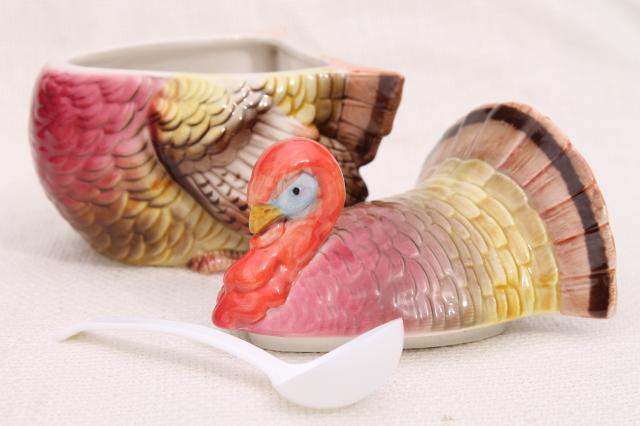 Vintage Thanksgiving Turkey Shape Covered Bowl Cranberry