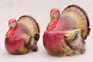 vintage Thanksgiving turkey shape covered bowl cranberry sauce dishes, 80s Otagiri Japan ceramic