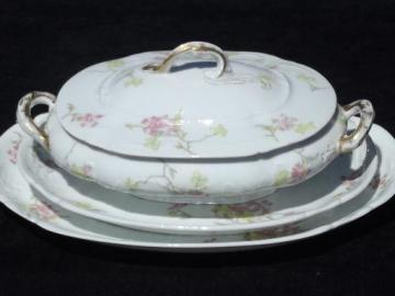 vintage Theo Haviland - France pink floral china platters, serving dish
