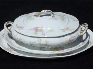 vintage Theo Haviland - France pink floral china platters, serving dish