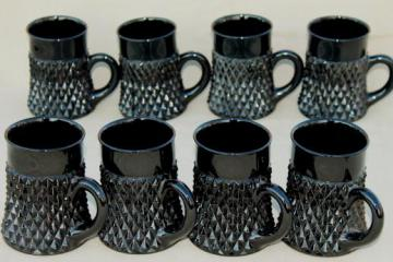vintage Tiara / Indiana black glass diamond point mugs set of eight