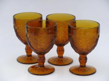 vintage Tiara Indiana glass amber sandwich daisy pattern water glasses