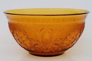 vintage Tiara / Indiana sandwich daisy pattern amber glass, large salad bowl