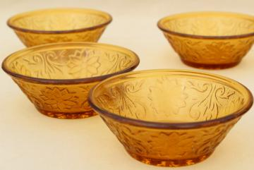 vintage Tiara / Indiana sandwich glass, daisy pattern bowls in amber