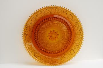 vintage Tiara amber glass, daisy pattern sandwich glass serving tray or cake plate