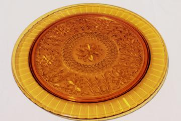 vintage Tiara amber glass torte cake plate, sandwich daisy pattern pressed glass