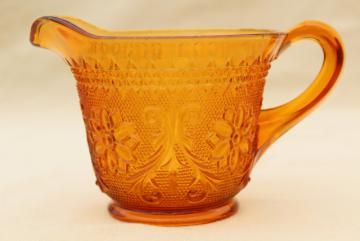 vintage Tiara amber sandwich glass creamer, daisy pattern cream pitcher