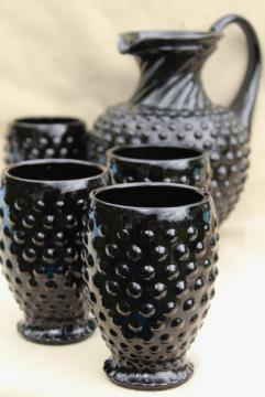 vintage Tiara black hobnail milk glass pitcher & tumbler glasses lemonade set