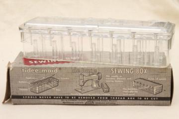 vintage Tidee Maid tidy spool holder sewing box, stores & cuts sewing thread