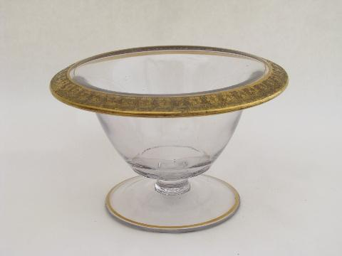 vintage Tiffin? 1920s small glass comport bowl, wide gold band floral trim