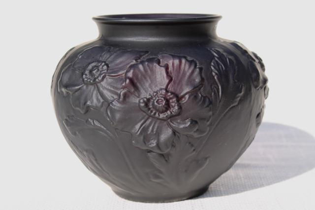 Vintage Tiffin Black Amethyst Art Glass Vase Frosted Satin Puffy Glass Poppies Floral