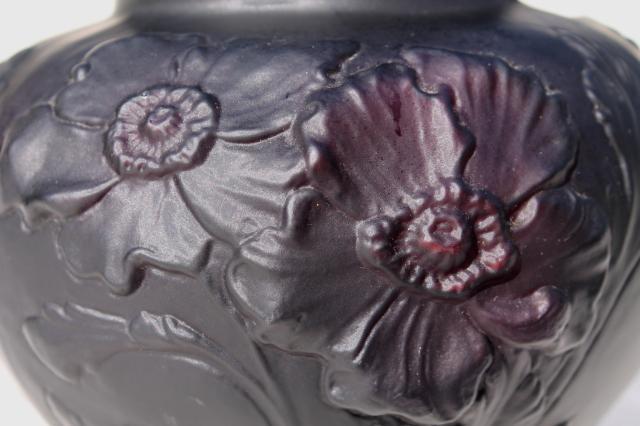 Vintage Tiffin Black Amethyst Art Glass Vase Frosted Satin Puffy