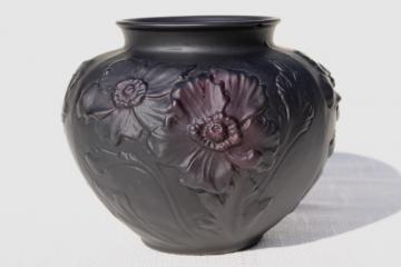 vintage Tiffin black amethyst art glass vase, frosted satin puffy glass poppies floral