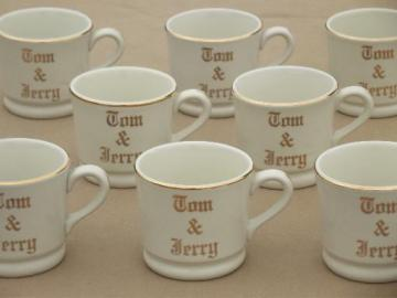 vintage Tom & Jerry eggnog cups, old Hall pottery mugs lettered in gold