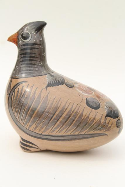 vintage Tonela Mexico pottery bird, hand painted crested dove or pigeon, or quail?