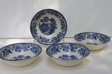 vintage Tonquin blue transferware china cereal bowls Alfred Meakin English scenery