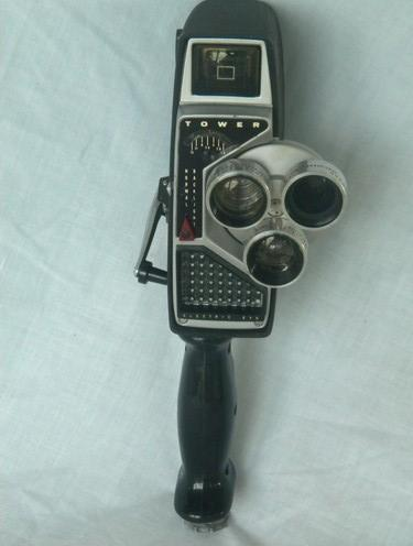 vintage Tower 584 16mm movie film camera w/ portable light and meter