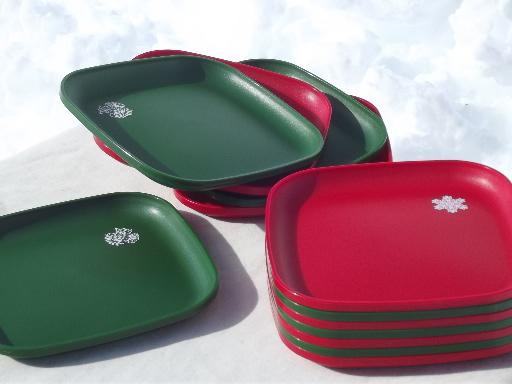 vintage Tupperware Christmas plates red u0026 green square holiday plates set & vintage Tupperware Christmas plates red u0026 green square holiday ...