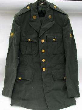vintage US Army green uniform jacket/coat & pants etc. size 36XL