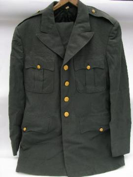 vintage US Army green uniform jacket/tunic & pants - size 40 Long