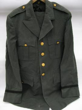 vintage US Army green uniform jacket/tunic & pants - size 40 XL