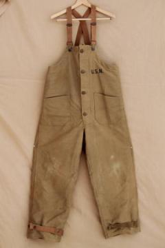 vintage US Navy uniform drab green wool lined bibs, arctic bib overalls coverall