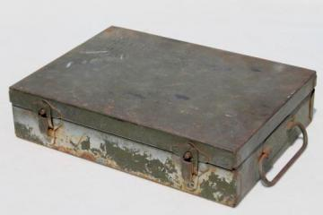 vintage US military document box, army green drab metal dispatch box for file papers