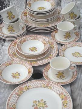 vintage USA Royal China Americana Tiffany pottery dinnerware set for 6