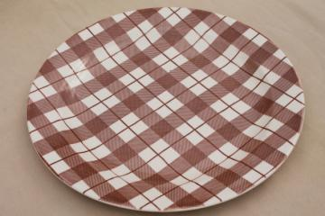 vintage USA Royal china brown plaid serving tray, platter or chop plate