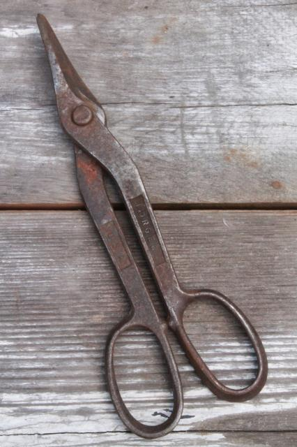 vintage USA made forged steel metal shears & tin snips, industrial metalworking tools