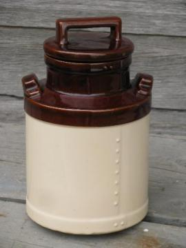vintage USA milk can cookie jar canister, for farm country kitchen