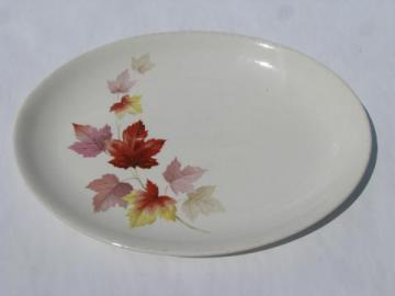 vintage USA pottery, autumn leaves pattern china platter, 1940s