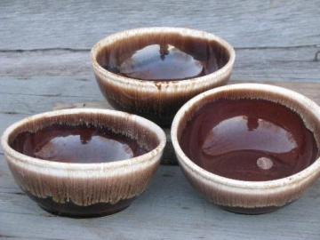 vintage USA pottery, big brown drip glaze mixing / serving bowls