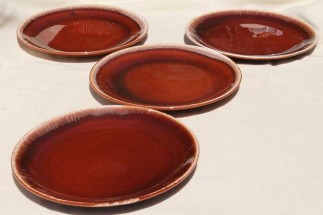 vintage USA pottery, brown drip glaze dinner plates lot of 4