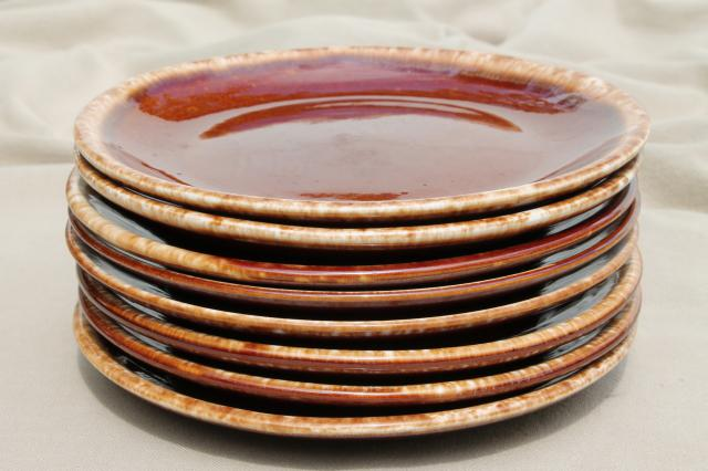 vintage USA pottery brown drip glaze stoneware pie or sandwich plate lot of 8 plates