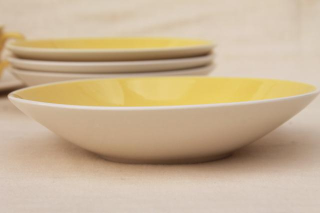 vintage USA pottery, china cups & saucers and bowls, boutonniere yellow cornflower