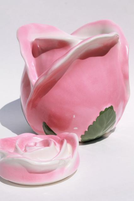 Vintage Usa Pottery Cookie Jar Giant Rosebud Pink Rose