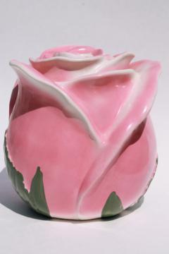 vintage USA pottery cookie jar, giant rosebud - pink rose ceramic canister