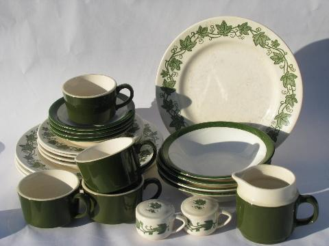 vintage USA pottery dinnerware set for 4, green ivy border dishes
