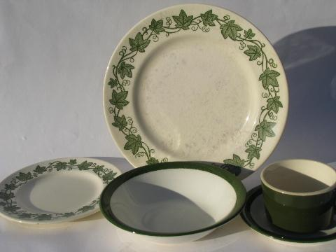 & vintage USA pottery dinnerware set for 4 green ivy border dishes