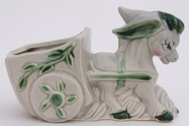 vintage USA pottery donkey cart flower pot, bashful cutie baby planter for cactus succulents