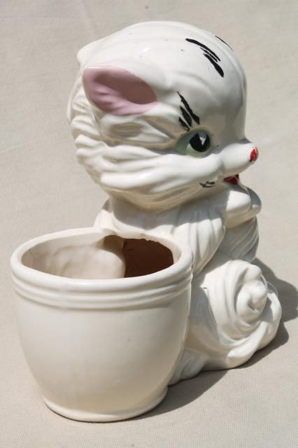 vintage USA pottery hand painted ceramic kitty, big wide eyed kitten w/ pink bow & planter pot