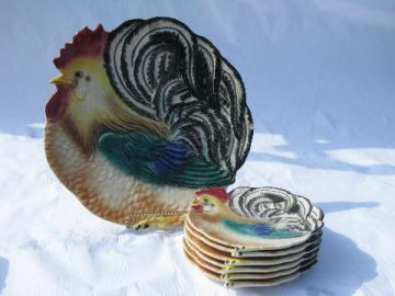 vintage USA pottery hand-painted rooster chicken cake or serving plate, 6 small plates