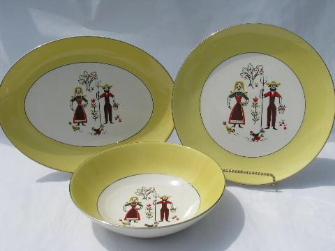vintage USA pottery serving pieces, farm folk couple, country kitchen dishes