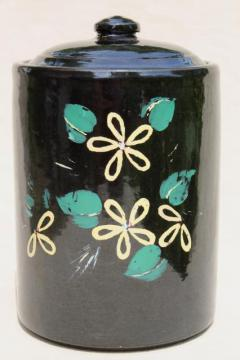 vintage USA pottery stoneware crock cookie jar, glossy black w/ folk art flowers