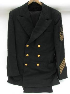 vintage United States Navy coat & pants w/metal bullion patch & stripes