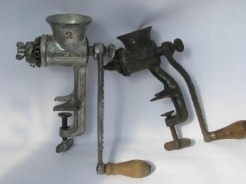 vintage Universal kitchen food & meat chopper lot, grinder #0 & #2