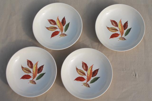 vintage Universal pottery china autumn leaf falling leaves pattern bowls for soup or cereal & vintage Universal pottery china autumn leaf falling leaves pattern ...
