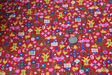 vintage VIP print cotton fabric, children's toys & ABCs in bright colors